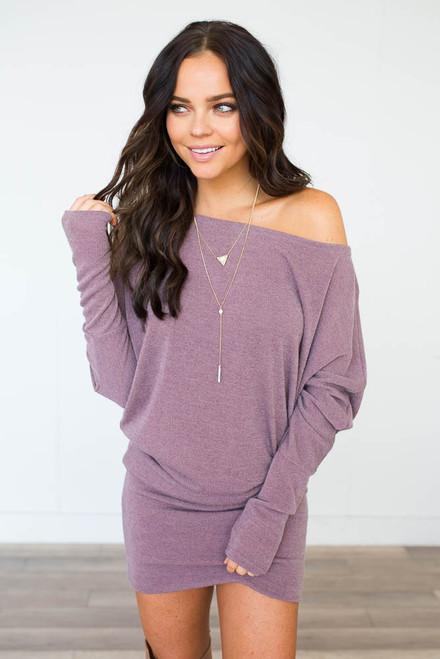 Slouchy Tunic Sweatshirt Dress - Dusty Mauve