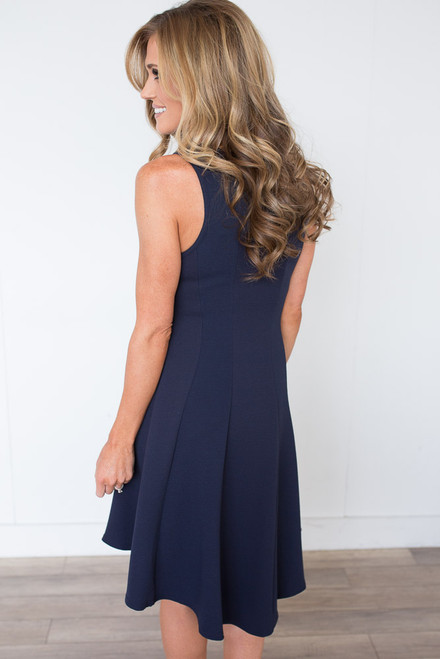 High Low Fit & Flare Dress - Navy