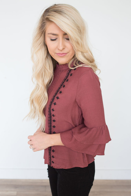 Mock Neck Embroidered Blouse - Faded Rose