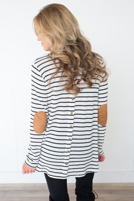 Striped Button Back Elbow Patch Top - White/Black