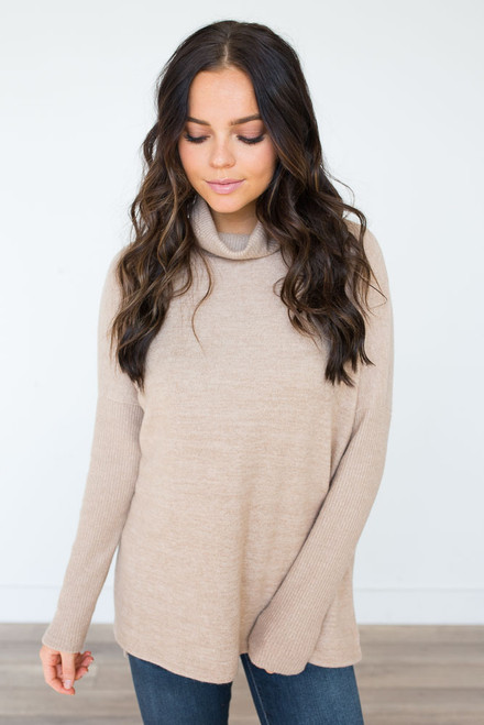 Cowl Neck Ribbed Detail Sweater - Taupe