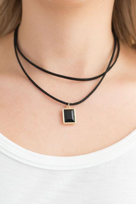 Layered Stone Choker Necklace - Black