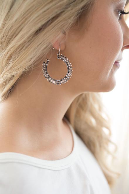 Textured Hoop Earrings - Silver