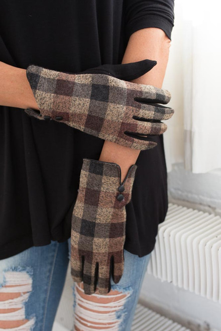 Plaid Lined Gloves - Brown Multi