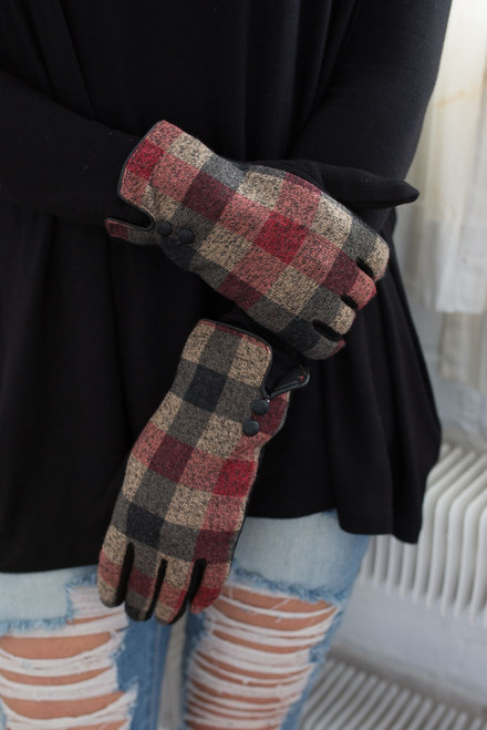 Plaid Lined Gloves - Red Multi