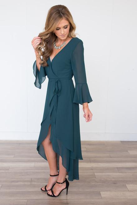High Low Wrap Maxi Dress - Dark Teal