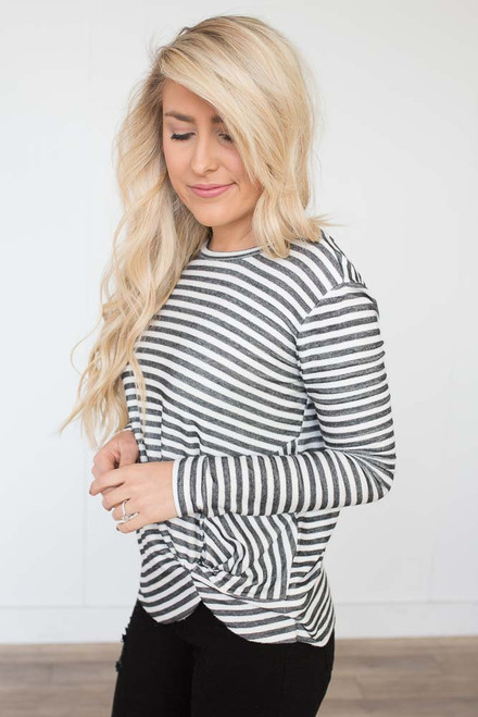 Long Sleeve Striped Knot Top - White/Black