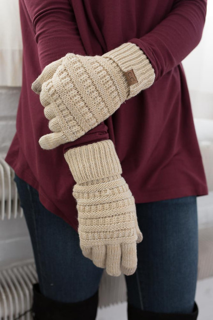 Two Tone Touchscreen Gloves - Oatmeal