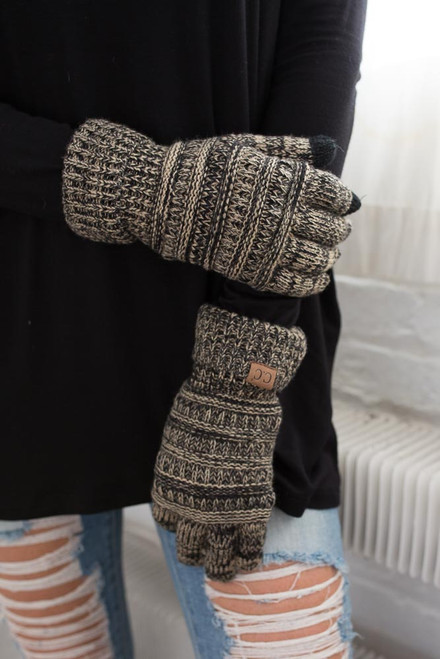 Two Tone Touchscreen Gloves - Black/Oatmeal