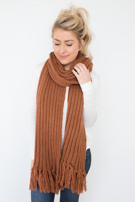Ribbed Knit Tassel Scarf - Rust
