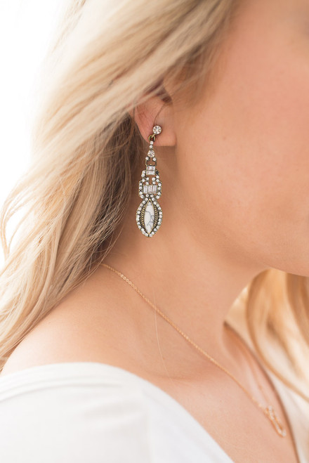 Rhinestone Marble Victorian Earrings - Gold