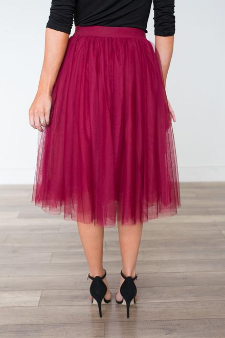 Noelle Tulle Skirt - Burgundy
