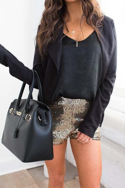 Speakeasy Sequin Shorts – Black/Gold