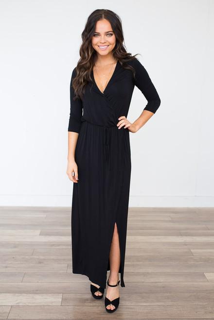 Everly High Low Wrap Maxi Dress - Black