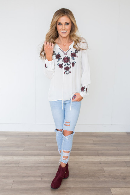 Embroidered Dahlia Tie Front Top - White
