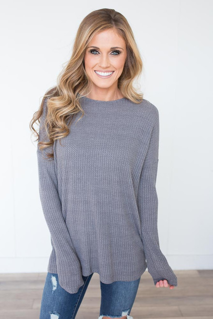 Waffle Knit Lace Up Back Top - Grey