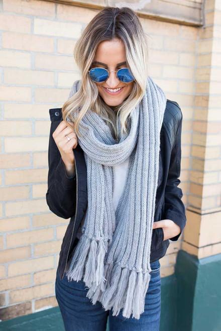 Ribbed Knit Tassel Scarf - Grey