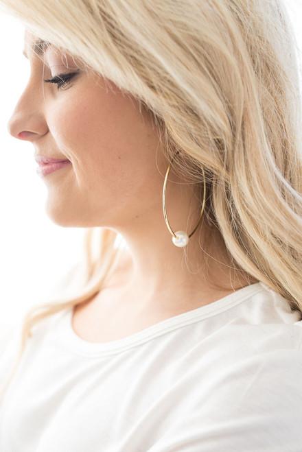 Pearl Accented Hoop Earrings - Gold