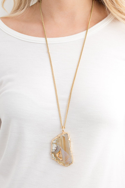 Geode Pendant Necklace - Gold