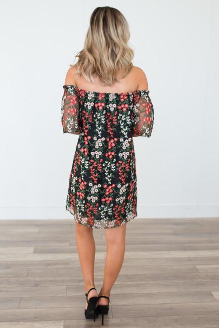 BB Dakota Gates Embroidered Dress - Black Multi