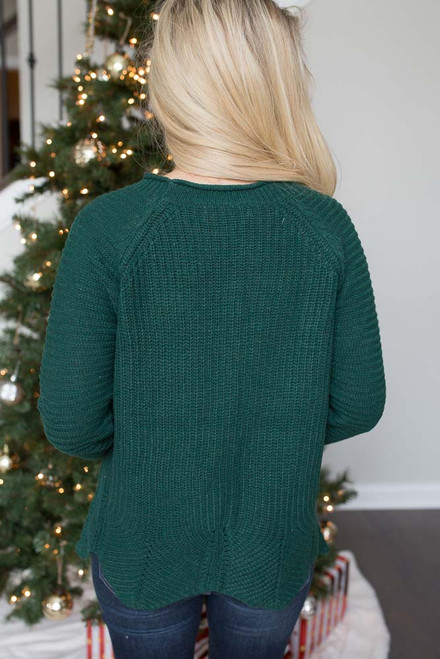 Scalloped Hem Sweater - Evergreen