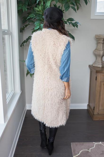 Rocky Mountain Faux Fur Vest - Taupe