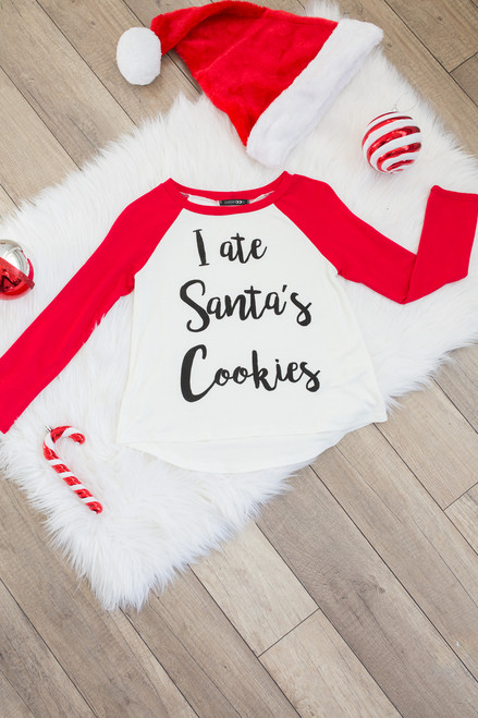 Kids Santa's Cookies Raglan Tee - Ivory/Red