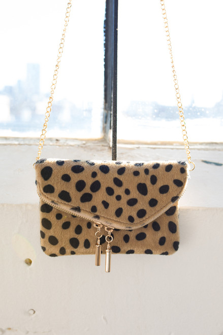 Faux Fur Leopard Crossbody Bag - Taupe Multi