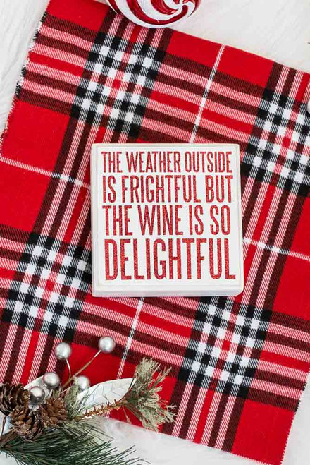 Wine Box Sign - White/Red