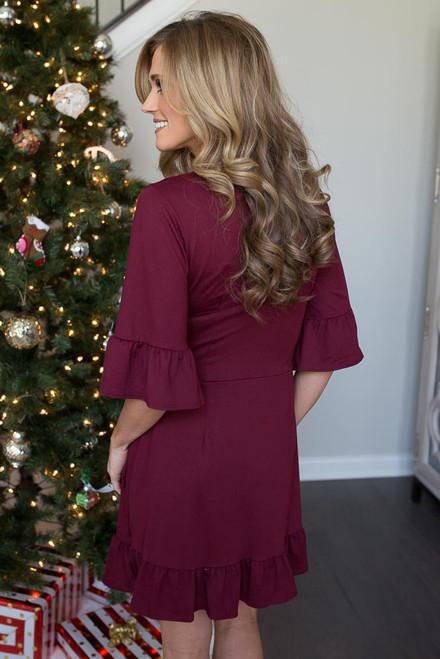 Ruffle Hem Wrap Dress - Burgundy