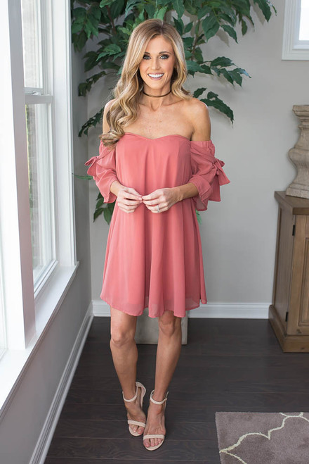 Off the Shoulder Tie Sleeve Dress - Salmon