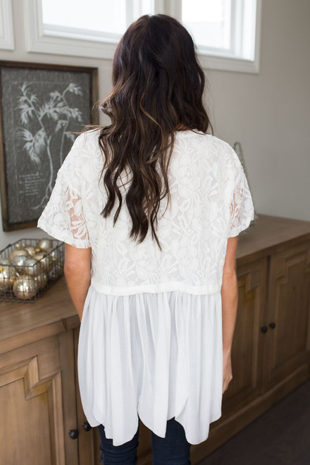 Lace Contrast Babydoll Top - Off White