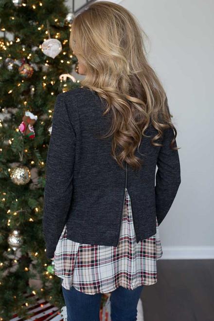 Plaid Contrast Hem Sweater - Charcoal