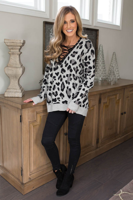 Leopard Lace Up Sweater - Grey