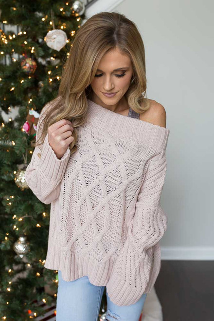 Off the Shoulder Cable Knit Sweater - Light Pink