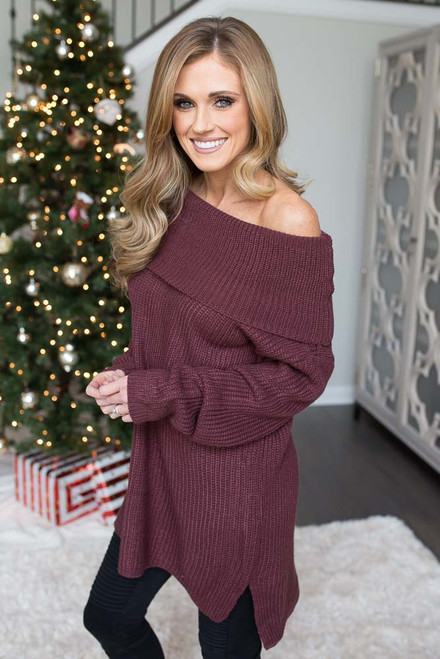 Off the Shoulder Tunic Sweater - Maroon