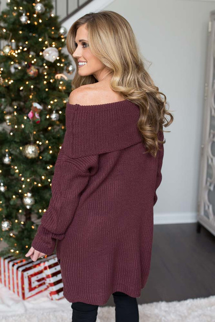 Off the Shoulder Tunic Sweater -Maroon