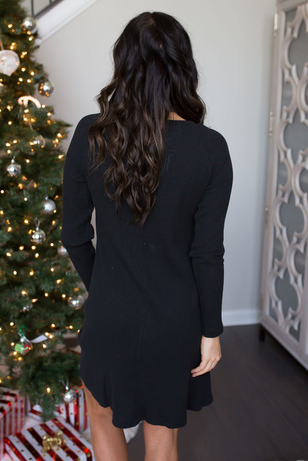 Waffle Knit Swing Dress - Black