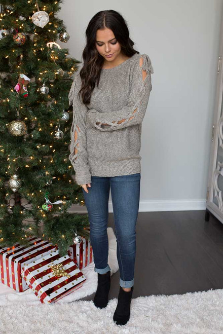Two Tone Lace Up Sleeve Sweater - Taupe