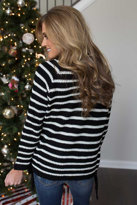 Striped Lace Up Side Pullover - Black/White