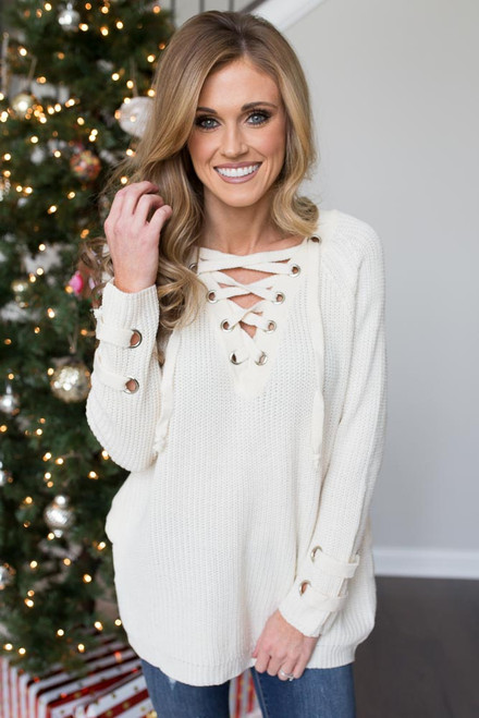 Lace Up Pocket Sweater - Cream