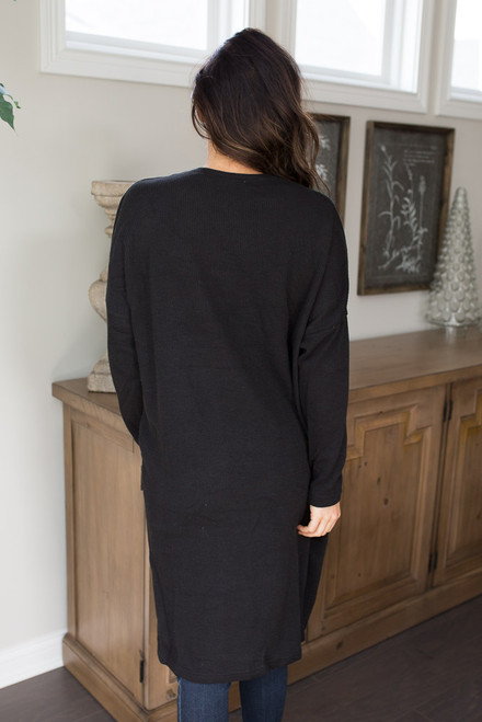Long Ribbed Pocket Cardigan - Black