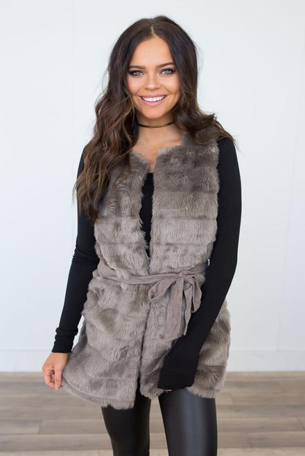 Faux Fur Tie Vest - Light Mocha