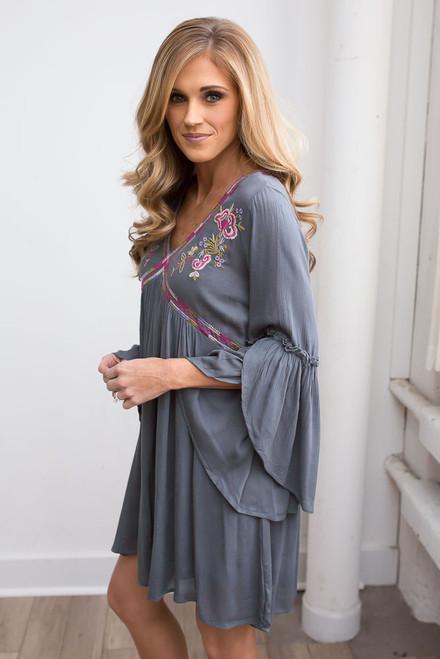 Tulip Sleeve Embroidered Dress - Slate