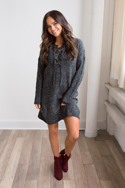 Two Tone Lace Up Sweater Dress - Charcoal