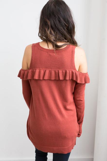 Cold Shoulder Ruffle Detail Sweater - Pumpkin