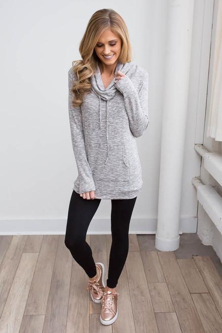 Cowl Neck Pocket Pullover - Heather Grey