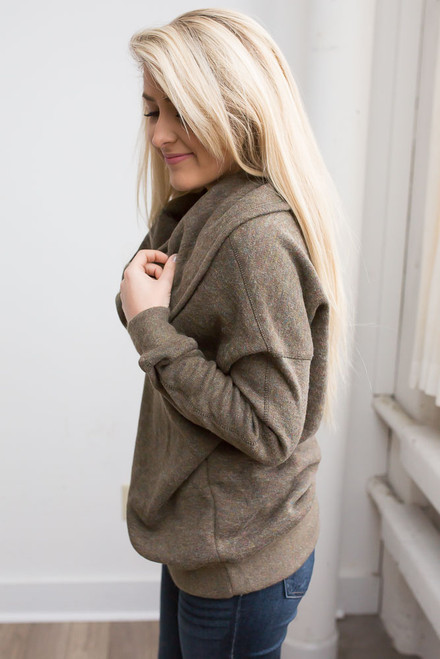 Cowl Neck Sweater - Sage Multi