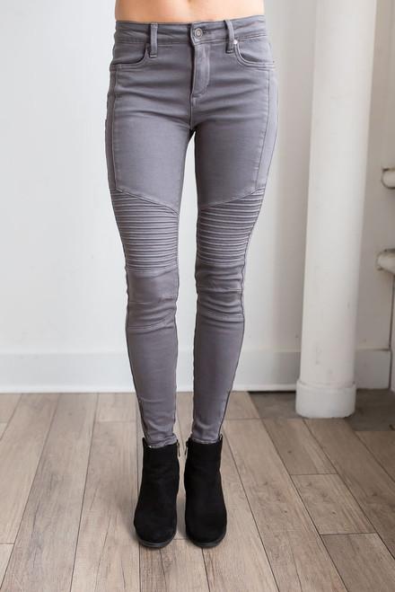 Zipper Detail Moto Pants - Charcoal