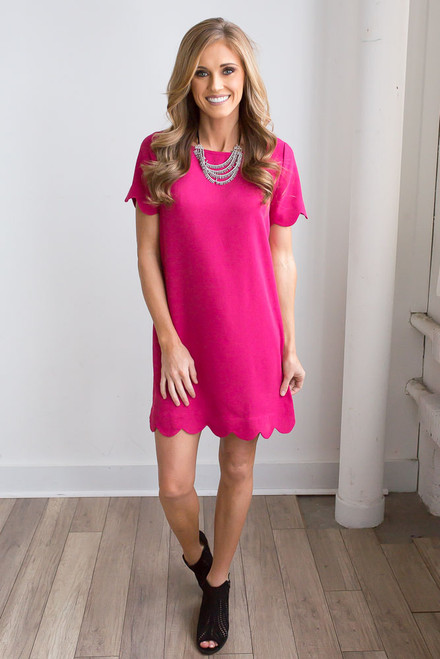 It Girl Short Sleeve Scalloped Shift Dress - Raspberry